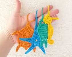 sea turtle crochet tags bulk of 5 sea animals crochet charms