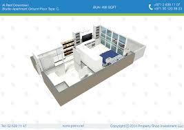 studio apartment ground floor type c 3d floor plan