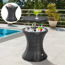 garden rattan ice bucket wicker party cocktail table ice cooler
