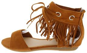 reduction substantial pp004 camel fringe lace up ankle sandal up