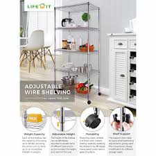 Plastic Shelving Unit by Lifewit 5 Tier Wire Shelving Unit Wheels Steel Wire Storage Rack