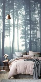 articles with jungle wallpaper mural nursery tag wall paper mural create a dreamy bedroom interior with our sea of trees wallpaper mural mesmerising steely blue wall
