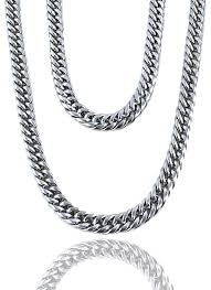 stainless silver necklace images Cuban links layered set x stainless silver s v ge luxury wear jpg