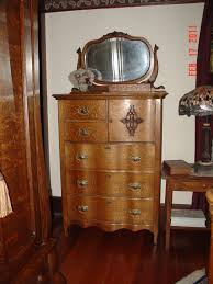 Antique Tiger Oak Dresser With Mirror by Antique Tiger Oak Bonnet Chest With Serpentine Front Collectors