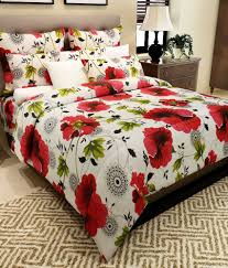 home candy 100 cotton superb red floral double bed sheet with 2