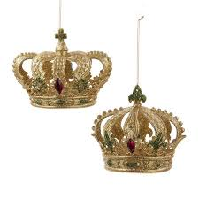 club pack of 12 gold green and glitter crown decorative