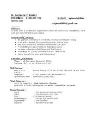 Two Years Experience Resume Selenium Resume Haadyaooverbayresort Com Manual Testing Sample For