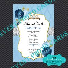 princess theme sweet 16 invitations floral watercolor flowers