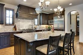 vintage kitchen interior design with double mini chandelier over