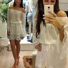 Cheap Boho Clothes Online 2015 Women U0027s Boho Ruffle Sleeve Off Shoulder Mini Dress Tunic