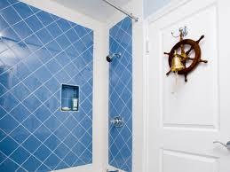 beach and nautical themed bathrooms blue tiles seashell