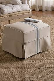 Matching Chair And Ottoman Slipcovers Slipcovered Tristan Ottoman Slipcover Ottoman Linen Covered