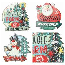 christmas signs embossed tin vintage christmas signs set of 3 antique farmhouse
