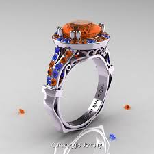 blue sapphires rings images Caravaggio 14k white gold 3 0 ct orange and blue sapphire jpg