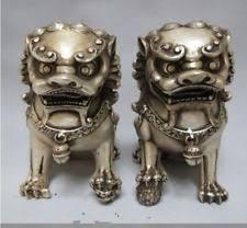 fu dog statues silver guardian lion foo fu dog statue pair ebay