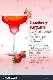 strawberry margarita vector recipe popular cocktail strawberry margarita stock vector