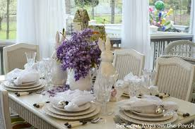 Easter Spring Table Decorations by Easter Tablescapes Table Settings With Wisteria And Bunny