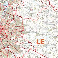 Leicester England Map by Leicester Le Postcode Wall Map Xyz Maps