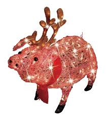 trim a home 30in icy lighted pig with antlers
