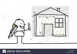 Drawing House Plans Free by Hand Drawn Cartoon Characters Man Drawing House Plan Stock Photo