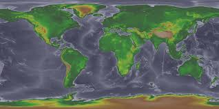 A World Map by Global Land One Km Base Elevation Project High Resolution Images