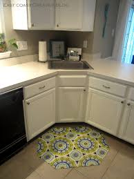 Kitchen Cabinet L Shape Unique Kitchen Floor Mats Above White Floor Under White Kitchen