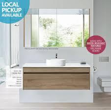 ibiza 1200mm white oak timber wood grain wall hung bathroom
