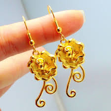 earrings hong kong aliexpress buy beautiful camellias 24k gold plated 1 1