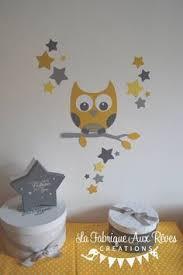 stickers chambre bébé mixte sur commande stickers arbre hibou et petits oiseaux jaune gris