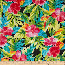Tropical Home Decor Fabric Splash Of Color Tropical Leaves Black Discount Designer Fabric