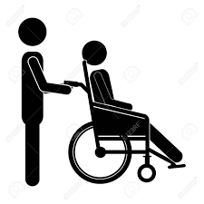 silhouette person helping another push a reclining wheelchair