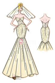 dress sketch strapless sweetheart mermaid gown for prom or
