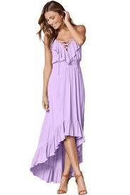 summer dresses uk fashion lilac lace up v neck ruffle trim timeless maxi dress