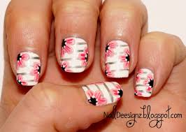 naildeesignz stripes and flowers nail art