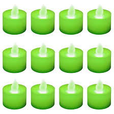 12ct battery operated led tea lights green target
