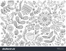 vector drawing black white collection flowers stock vector