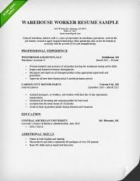 Examples Of Skill Sets For Resume by Warehouse Worker Resume Sample Resume Genius