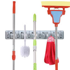 amazon com outera broom and mop holder organizer wall mounted 5