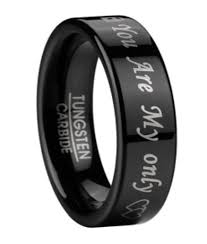 men in black wedding band men s black tungsten wedding band with you are my only