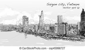 vectors illustration of ho chi minh city vietnam city skyline