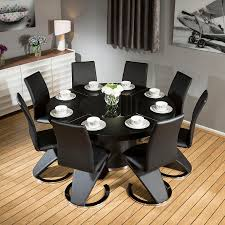 Round Dining Table And  Chairs Starrkingschool - Black dining table for 8