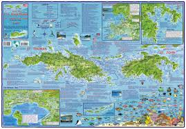 Map Caribbean Sea by Caribbean Map Us Virgin Islands Guide And Dive Laminated 2009