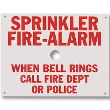 bell rings red images Sprinkler fire alarm when bell rings call fire dept or police sign jpg