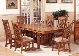 7 pieces oak mission style dining room set with rectangle low