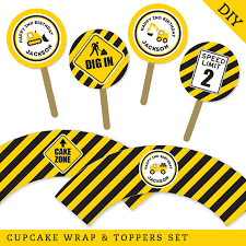 construction cake toppers construction party personalized diy printable cupcake wrapper