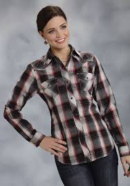 Black And White Plaid Shirt Womens Roper Women U0027s Red Plaid Embroidered Snap Ls Western Shirt