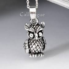 owl pendant necklace silver images Movable 925 silver owl pendant small callvogue jpg