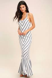 delilah blue and white striped maxi dress