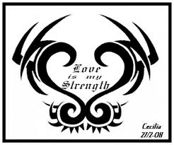 black ink bird and strength on back