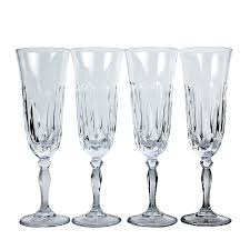 vintage champagne glasses vintage crystal champagne flutes cut teardrop pattern set of 4